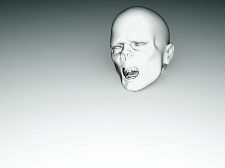 Zombie face that is coming out of a white background. photo
