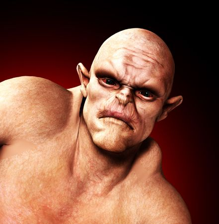 bald ugly: A horrible Ogre for the Halloween period.