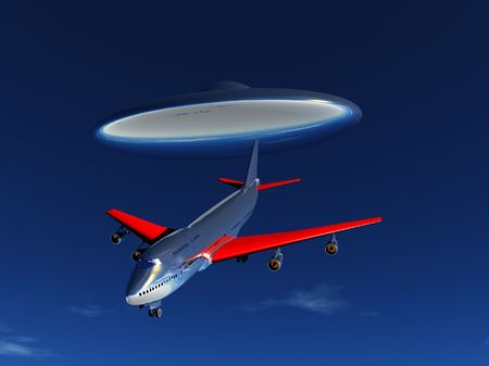 abducted: A plane that is about to be abducted by a UFO.