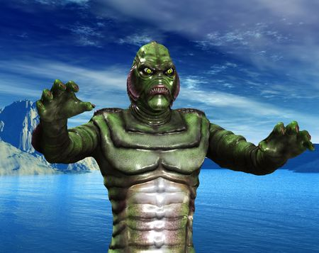 reptilian: A reptilian monster coming out of some water. Stock Photo