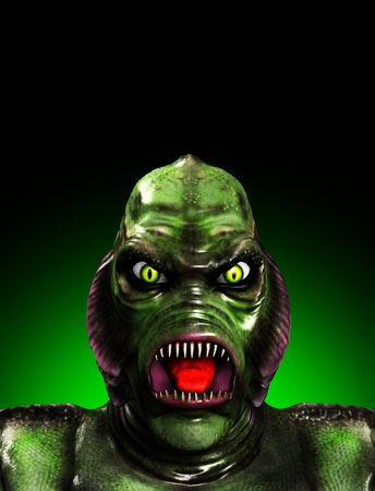 gill: An aquatic reptilian gill monster for Halloween. Stock Photo