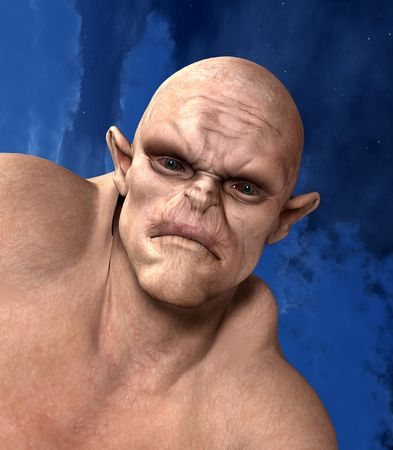 bald ugly: Halloween image of an Orgre with a sky background.