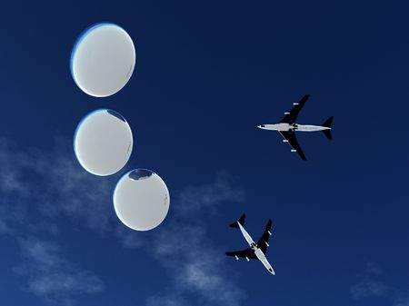 Some planes being pursed by a fleet of flying saucers. photo