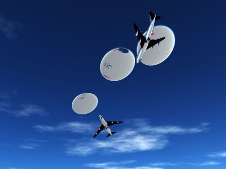 Some planes being pursed by a fleet of flying saucers. Stock Photo - 5726477