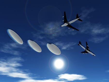 Some planes being pursed by a fleet of flying saucers. Stock Photo - 5726482