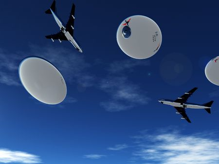 Some planes being pursed by a fleet of flying saucers. Stock Photo - 5726511