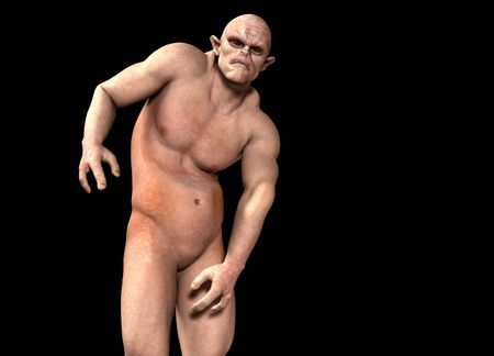 bald ugly: Image of a horrible looking Ogre for Halloween. Stock Photo