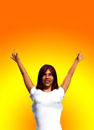 contended: Image of a women who is overjoyed. Stock Photo