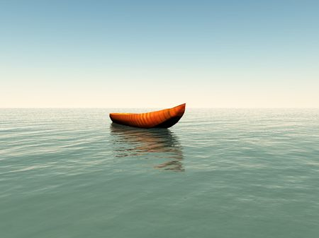 oceanic:  A boat floating on the oceanic water.