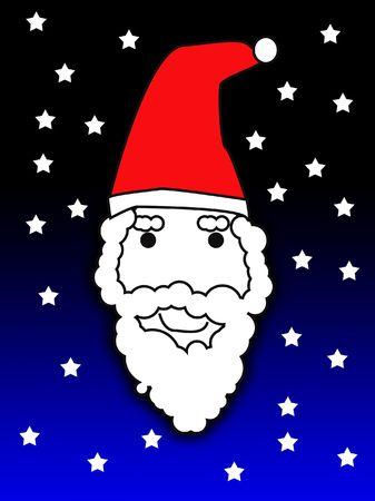An illustrated image of Santa Claus face. photo