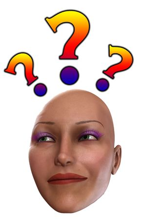 baffled: A close up of a head looking very puzzled. Stock Photo