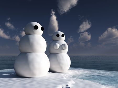 froze: A male and female snowman couple.
