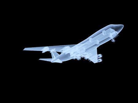 aeronautical: An x ray of a plane in flight.  Stock Photo