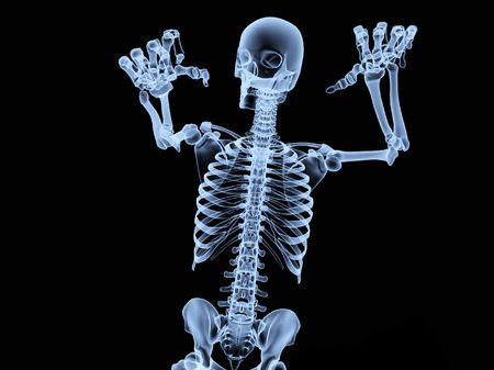 an x ray of a human skeleton in a pose. stock photo, picture and, Skeleton