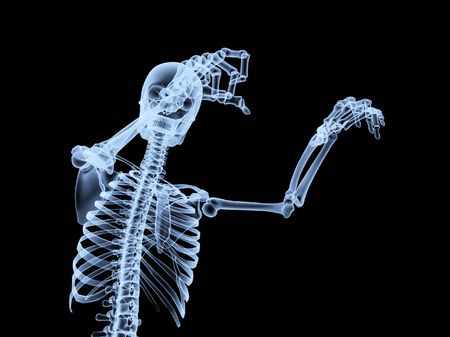 An x ray of a human skeleton in a pose.