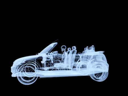 An xray of a skeleton driving a car.