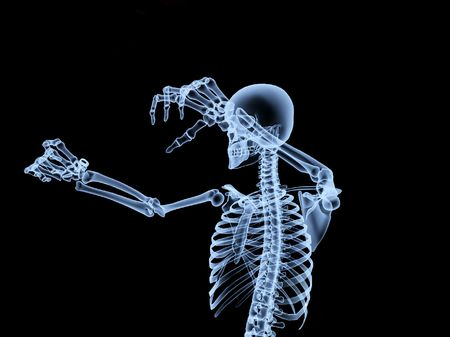 An xray of a skeleton driving a car. photo