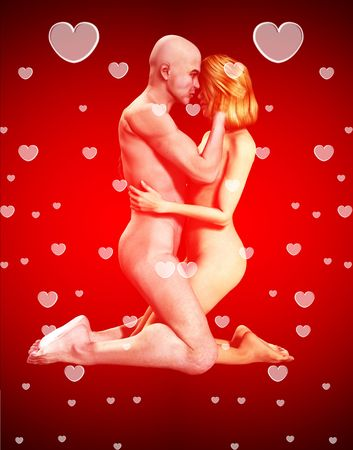 A romantic nude couple who are in love. Stock Photo - 6299153
