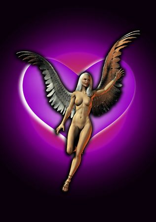 An Angel of love with a heart background. photo