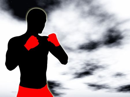 A silhouette of a powerful fighter. photo
