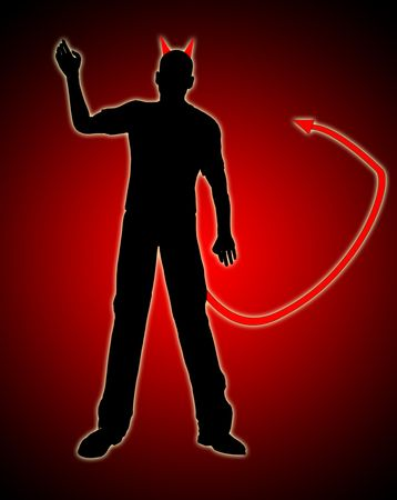 The silhouetted figure of the devil for evil concepts. Stock Photo - 6356941