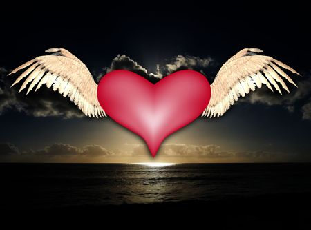 A flying heart for love and Valentines Day concepts. photo