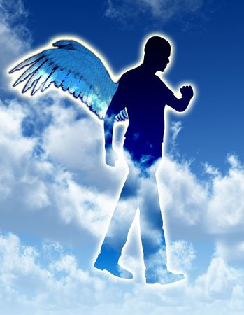 wing figure: A  heavenly angel for morally good concepts.