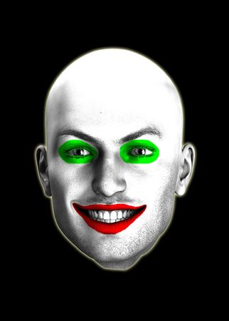 clownophobia: An image of a psychotic looking smiling clown head.