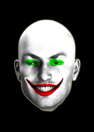 An image of a psychotic looking smiling clown head.