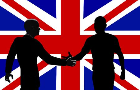 silhouetted: Silhouetted men shaking hands in front of the British flag.