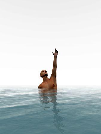 ahogandose: Un hombre que se est� ahogando en el mar.  Foto de archivo