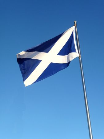 scots: The Scottish flag the Saint Andrews Cross.  Stock Photo