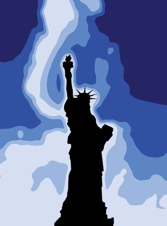 lady justice: Silhouetted version of the Statue Of Liberty.