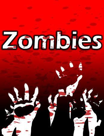 menacing: Lots of Zombie hands reaching upwards, with blood splats.