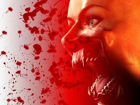 creepy monster: Vampire bocca insanguinata Archivio Fotografico