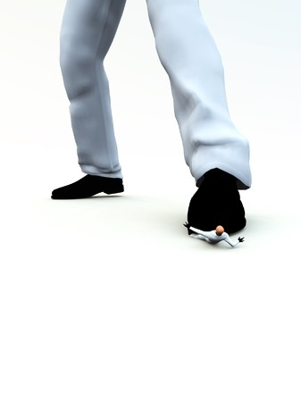 Concept image of a small man being crushed by a large foot.