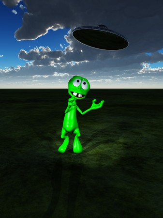 figurative: A little green alien with a UFO flying overhead Stock Photo