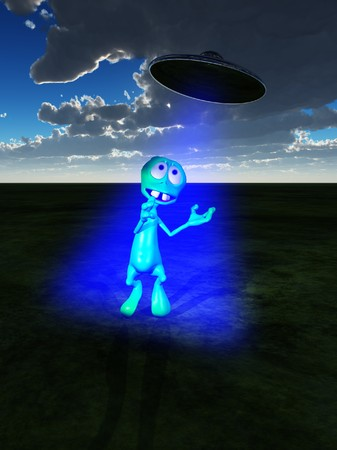 aeronautical: A little green alien with a UFO flying overhead Stock Photo