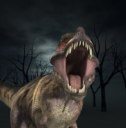 A Tyrannosaurus  Rex that is roaring fiercely.  photo