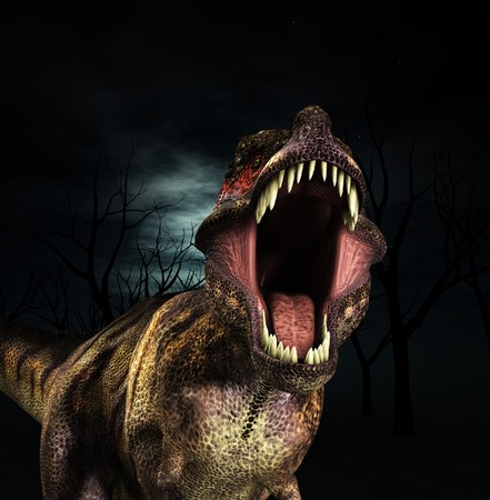 reptilia: A Tyrannosaurus  Rex that is roaring fiercely.