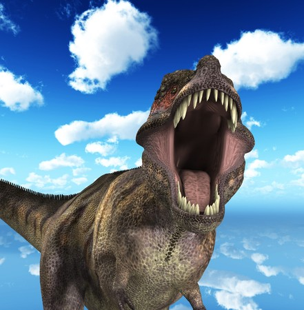 rex: A Tyrannosaurus  Rex that is roaring fiercely.