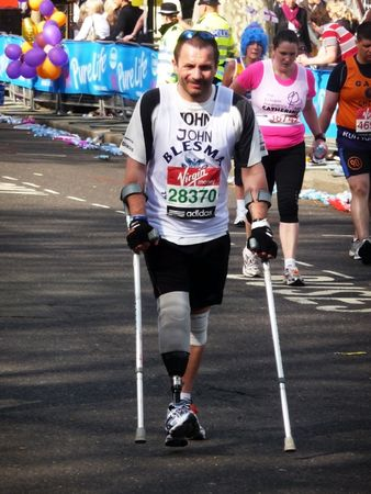 crutches: London - April 25: Fun Runners at the 2010 London Marathon  April 25th, 2010 in London.