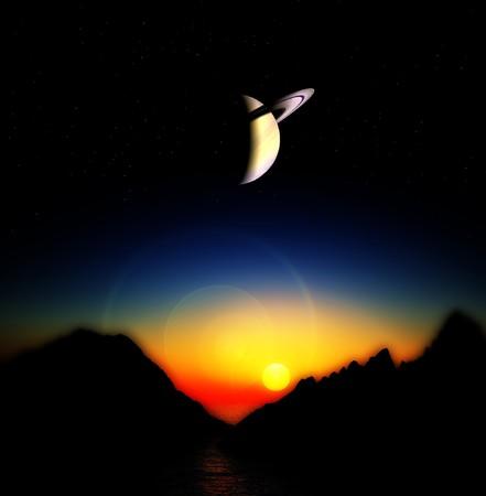 alien landscape: Una vista di un paesaggio straniero e il cielo.