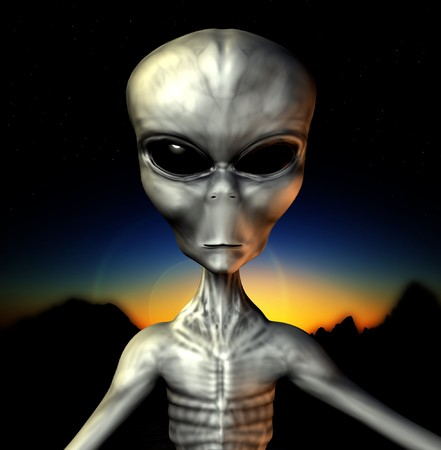 An example of an alien grey. Stock Photo