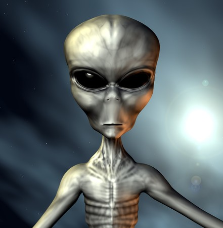 An example of an alien grey. Stock Photo