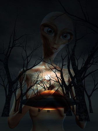 An alien and a UFO in a dark forest. photo