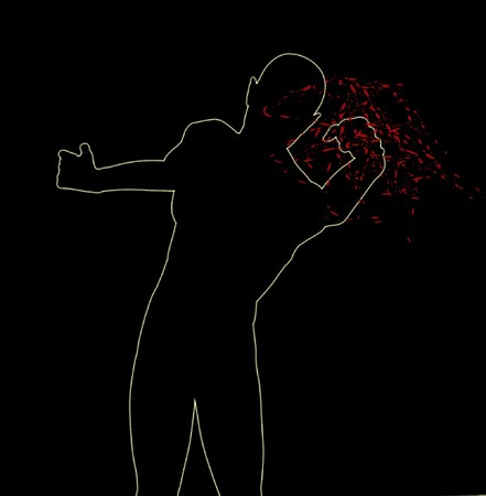 figurative: A silhouette of a man who is fighting. Stock Photo