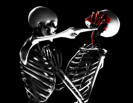 afterlife: Concept image featuring two skeletons fighting with added bloody violence. Stock Photo