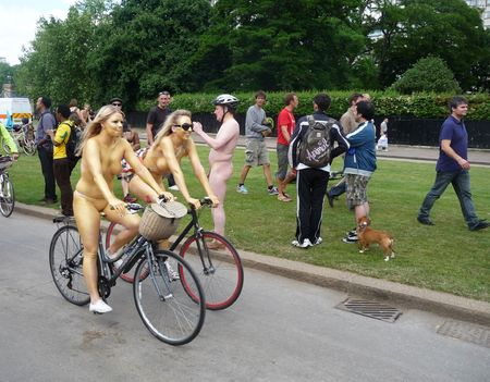LONDON - June 12: World Naked Bike Ride June 12th, 2010 in Hyde Park London, England. Stock Photo - 7206290