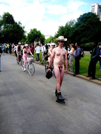 LONDON - June 12: World Naked Bike Ride June 12th, 2010 in Hyde Park London, England. Stock Photo - 7206298